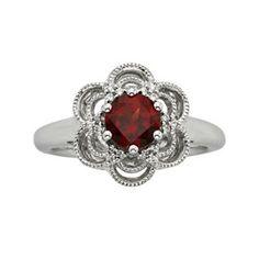 Simply Vera Vera Wang Sterling Silver Garnet & 1/10-ct. T.W. Diamond Flower Ring