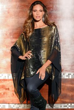 Elegant and flowing with allover sparkle and chiffon sleeves, this poncho is sure to turn heads this holiday season. Unique Clothes For Women, Stylish Dresses For Girls, Stylish Dress Designs, Casual Dresses, Kaftan Designs, Blouse Designs, Boho Outfits, Casual Outfits, Dress Outfits