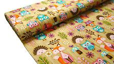 0,5m Woodland Critters USA Cotton Fabric with Fox, Hedgehog & Owl m02