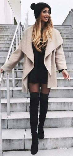 Cream Coat + Black Dress & Beanie