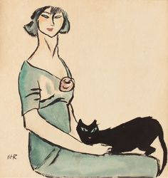 Iosif Iser (1881-1958), 1905-10, Pisica neagră (Black cat), ink, watercolor and gouache. iL