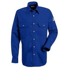 Bulwark Medium Light Blue Cotton Nylon Long Sleeve Flame Resistant Shirt With Gripper Closure