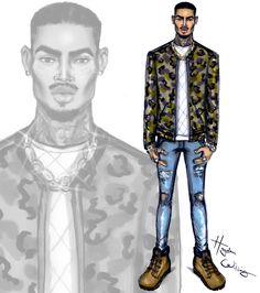 Chris Brown in camo print by Hayden Williams