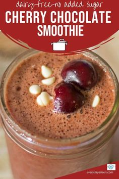 A tasty mouthwatering Cherry Chocolate Smoothie to quench your thirst after a workout or get your day started. Fresh cherries and chocolate make a great combo that tastes like a dessert without the calories. #cherries #chocolate #cherrychocolatesmoothie #everydayeileen Easy Desserts, Delicious Desserts, Yummy Food, Tasty, Vegan Recipes Easy, Sweet Recipes, Amazing Recipes, Light Recipes, Healthy Breakfast Smoothies