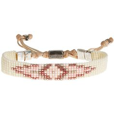 KIM AND ZOZI Dusk Beaded Bracelet ($79) found on Polyvore featuring women's fashion, jewelry, bracelets, cream, handcrafted jewelry, beaded jewelry, tribal jewelry, tri color jewelry and beaded bangles