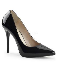 Black Patent Leather Amuse Heels #uniquevintage