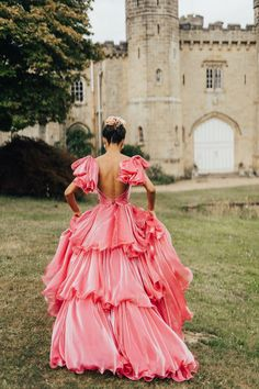 Stunning Pink Wedding Dress with Ruffle Detail and Bow Sleeves | By Rebecca Carpenter Photography | Coloured Wedding Dress | Backless Wedding Dress | Ruffle Wedding Dress | Bridal Updo | Alternative Bride Dress | Pink Bride Dress | Pink Wedding Dress Pretty Dresses, Beautiful Dresses, Alternative Wedding Dresses, Alternative Bride, Bridesmaid Dresses, Prom Dresses, Colored Wedding Dresses, Dream Dress, Bridal Gowns
