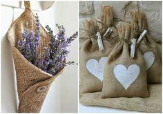 Textil de aspecto áspero y rústico y de tonalidades marrones, ideal si quieres darle un aire campestre a cualquier objeto. DIY con tela de saco.