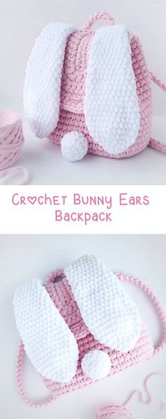 DIY Crochet Backpack with Bunny Ears - Perfect for kids, Easter or just because its fun! Would make a fabulous Easter Basket Crochet Backpack – Bunny Ears - Design Peak Anna Moon craft Crochet Diy, Crochet Simple, Diy Crochet Patterns, Easy Crochet Projects, Crochet Bunny, Crochet For Kids, Crochet Stitches, Crochet Ideas, Easter Crochet