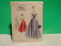 Vogue 1951 Couturier Pattern #660,Unused,Evening Dress,Cloth Vogue tag included FF sold 9/7/13 for 64.88+2.50