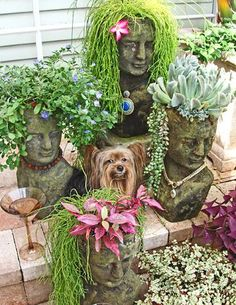 Garden art bust planters with succulents as hair