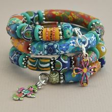African Krobo Bead and Polymer Clay Wrap Bracelet with Chimayo Crosses