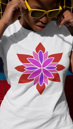 The lotus flower has different meanings in different cultures. For some it is a symbol of creation and rebirth. For others it is a of symbol achieving enlightenment. Star Flower, Lotus Flower, Star Designs, Original Artwork, Chiffon Tops, Classic T Shirts, Women Wear, Canvas Prints, Slim