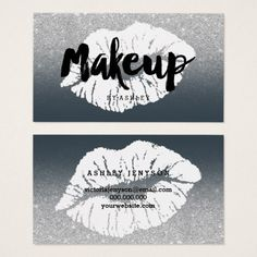Makeup artist lips typography silver glitter grey business card - glitter gifts personalize gift ideas unique