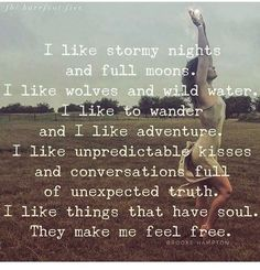 I like stormy nights and full moons. I like Wolfs and wild water. I like to wander and I like adventure. I like unpredictable kisses and conversations full of unexpected truth. I like things that have soul They make me feel free 💖 Words Quotes, Me Quotes, Motivational Quotes, Inspirational Quotes, Sayings, Great Quotes, Quotes To Live By, Word Porn, Encouragement