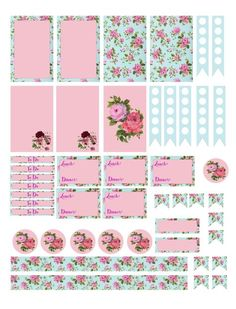 Free Planner Printables for Mambi Happy Planner. Floral, shabby chic, pink, pastel, blue