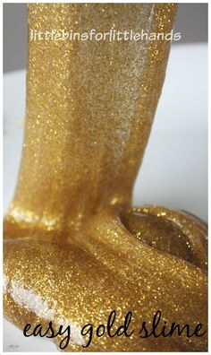Make our easy gold slime recipe with just a few ingredients. This gold slime is amazing, super stretchy and feels like liquid in your hands! Fun gold slime!
