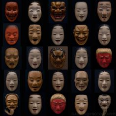 "~Noh Masks~ (by GASHUN)    Noh masks (能面 nō-men or 面 omote) all have names. They are carved from blocks of Japanese cypress (檜 ""hinoki""), and painted with natural pigments on a neutral base of glue and crunched seashell.  能面も♪"
