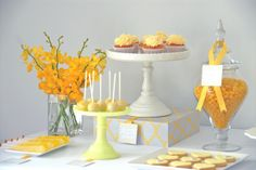 nicole 55 standard Tea Party in giallo -- food signs on ribbons Baby Party, Tea Party, Nancy Drew Party, Teacher Party, Baby Shower Yellow, Food Signs, Dessert Table, Birthday Decorations, Birthday Parties