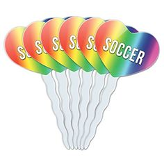 Rainbow Heart Love Set of 6 Cupcake Picks Toppers Decoration I Love Heart Sports Hobbies SeSt  Soccer * See this great product.Note:It is affiliate link to Amazon.