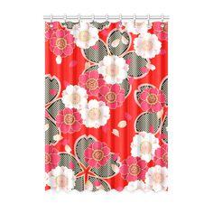 "Red White Japanese Kimono Pattern Window Curtain 52"" x 72""(One…"