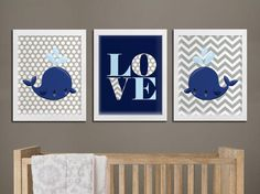Nautical nursery printable wall art, whales boy nursery custom colors printable wall decor, LOVE playroom art whales nautical download  PLEASE READ  Please note, this listing is for DIGITAL FILES - no print will be mailed, this listing does not include a physical item. You can print these files at home on your own printer or take them to a print shop of your choice.  If you need a different color please let me know, i can match your wall color or bedding colors. Custom files (if you request…