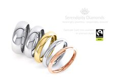 Selected styles of plain wedding rings available in Fairtrade Gold at Serendipity Diamonds.