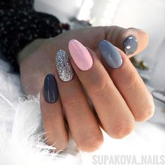 In search for some nail designs and ideas for your nails? Here's our listing of must-try coffin acrylic nails for stylish women. Pink Gel Nails, Gray Nails, Cute Acrylic Nails, Nail Manicure, Love Nails, Fun Nails, Nail Polish, Grey Nail Art, Shellac Nail Art