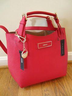 DKNY Donna Karan Red Saffiano Leather Tote Satchel Bag Purse Handbag NWT