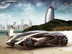 Amphi-X Dubai 2030 Amphibious Vehicle: Instead of stacked in traffic, you could use the rivers or waterways using this amphibious vehicle.