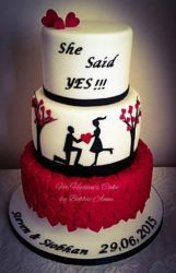 She Said Yes ! by Bobbie-Anne Wright (For Heaven's Cake) She Said Yes ! by Bobbie-Anne Wright (For Heaven's Cake) Engagement Cake Design, Engagement Cakes, Pretty Cakes, Beautiful Cakes, Amazing Cakes, Fondant Cakes, Cupcake Cakes, Cupcakes, Fall Wedding Cakes