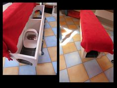 Diy kitchen bench with surefeed microchip feeder inside (this way the dog can't scare away the cats to snack there kibbles in a sec!)