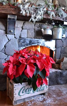 decorating with red poinsettias by Funky Junk Interiors