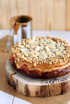 """Dulce de Leche Cheesecake with Salted Peanuts ~ via this blog, """"Cake Time""""."""