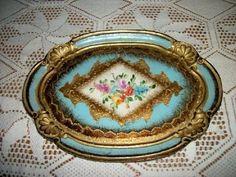 Beautiful RARE Chic Italian Florentine Wood Tray Aqua HP Roses Shabby Stunning Aqua, Teal, Turquoise, Norwegian Rosemaling, Italian Home, Painted Trays, Hand Painted Furniture, Wood Tray, Tole Painting