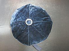 Black Velvet Pill Box Hat Rhinestone Button Surround