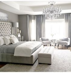 One of the reasons why you need some new master bedroom ideas is because that you might feel bored with your old bedroom design. It's understandable because the bedroom is the room where you may spend… Master Bedroom Design, Home Decor Bedroom, Modern Bedroom, Trendy Bedroom, Bedroom Furniture, Girls Bedroom, Master Bedroom Chandelier, Luxury Master Bedroom, Bedroom Curtains