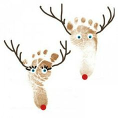 25 Christmas Crafts for Toddlers: Reindeer Footprints