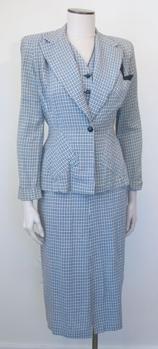 990411f979a98 Vintage 1940s Navy and White Ladies Suit with Vest SZ