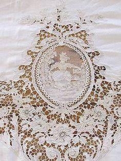 """Magnificent HUGE Belgium Zele Needle Lace Figural Antique Tablecloth 224 x 99"""""""