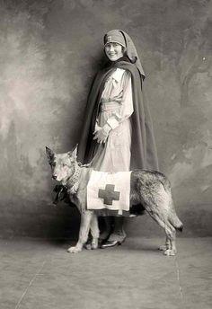WWI nurse posing with a dog, circa 1914-1918. 50 Vintage Photos of Nurses Being Awesome #Nursebuff #Vintage #Nurse