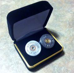 Remington 12 GA Bullet Shot Gun Shell Cufflinks by customcoinrings, $22.95---Little bro needs these