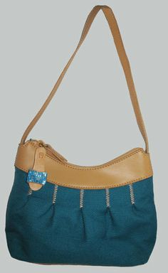 Etienne Aigner Turquoise Canvas w/Faux Leather Trim Bag.
