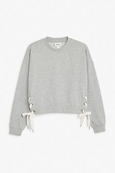 Monki Image 1 of Cropped sweatshirt with lace up detail in Grey