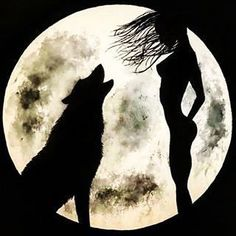 Black and white painting of a girl and a wolf howling by LeFairie Sillouette Painting, Wolf Painting, Wolf Silhouette, Shadow Wolf, Wolves And Women, Watercolor Wolf, Wolf Artwork, Wolf Photography, Wolf Wallpaper