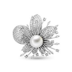 Beautiful Platinum Plated Brooch, Micro Pave AAA Zircon Flower with Shell Pearl, Platinum; Size: 50x45mm; Pearl:about 14mm in diameter.<br/>Priced per 1