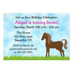 cute brown horse girls birthday invitation