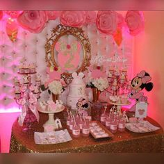 Pink Minnie Mouse birthday party! See more party planning ideas at CatchMyParty.com!