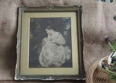 A lovely Vintage Picture in Frame Retro  Boho Old Picture Mother and Child Picture by Route46Vintage on Etsy