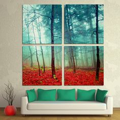 Hey, I found this really awesome Etsy listing at https://www.etsy.com/listing/209970836/mystic-autumn-trees-4-panel-split-quad